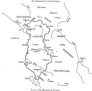 Die albanischen Grenzen