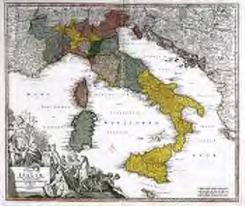 Statuum totius Italiæ novissima repræsentatio geographica simul exhibens insulas Siciliæ Sardiniæ Corsicæ et Maltæ