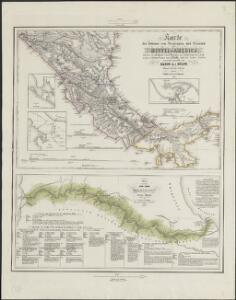 Karte des Isthmus von Nicaragua und Panamá in Mittel-America mit den verschiedenen Canal-Projecten zur Verbindung des Atlantischen u. Stillen Oceans nach J. Baily und den besten Quellen