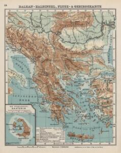 Balkan-Halbinsel, Flusz- & Gebirgskarte