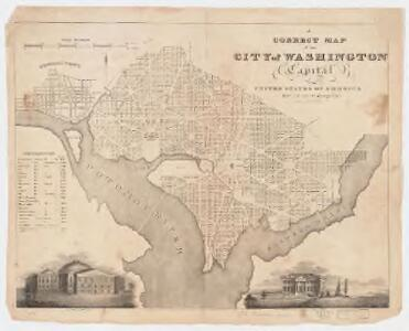 A correct map of the city of Washington : capital of the United States of America : lat. 38.53 n., long. 0.0