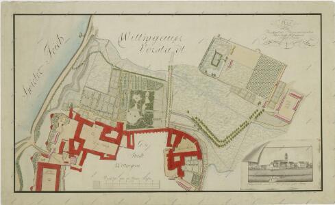 Situační plán třeboňské zámecké zahrady, kláštera a Nového Dvora; veduta