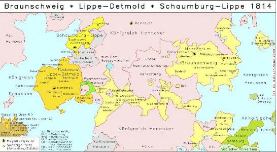 Braunschweig, Lippe-Detmold, Schaumburg-Lippe 1814