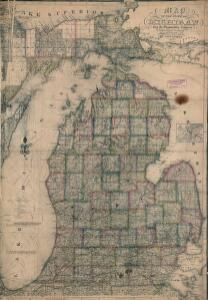 Map of the state of Michigan and the surrounding country : exhibiting the sections and the latest surveys
