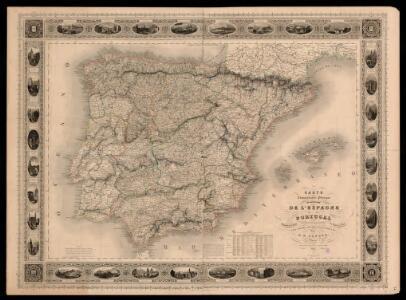Carte administrative, physique et routiere de l'Espagne et du Portugal indiquant les canaux, les rivieres naviables, les routes de poste et les nouvelles divisions des provinces, &c.