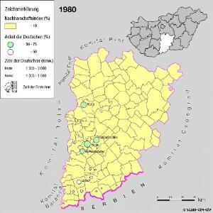 Siedlungsgebiet der Deutschen nach dem Nachbarschaftsindex für das Komitat Bács-Kiskun 1980