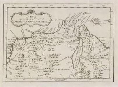 Carta rappresentante le Provincie di Cartagena, S Marta e Venezuela
