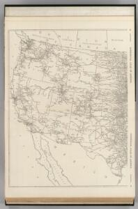 Black and White Mileage Map of the United States (western half).