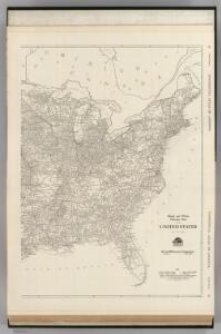 Black and White Mileage Map of the United States (eastern half).