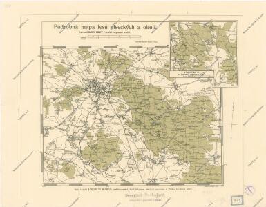 Podrobná mapa lesů píseckých a okolí