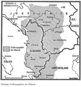Siedlungsgebiet der Albaner