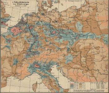 Volksdichtekarte von Mitteleuropa