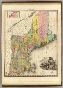 Map Of The States Of Maine, New Hampshire, Vermont, Massachusetts, Connecticut & Rhode Island.