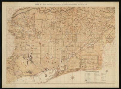 Plano de zonas de Barcelona: anexo n.1 de las Ordenanzas municipales de edificación aprobadas en 27 de Enero de 1958 con las modificaciones derivadas de los planes parciales aprobados hasta 30 de abril de 1962