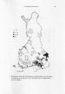 Prozentualer Anteil der Geldeinkünfte aus Saisonarbeit in St. Petersburg am Einkommen der Bauern in den 30er Jahren des 19. Jahrhunderts nach C.C. Böcker