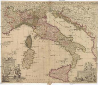 L'Italie distinguee suivant l'estendiie [sic] de tous les estats royaumes republiques duchés principautés
