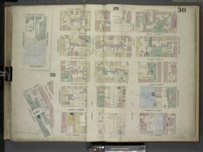 [Plate 30: Map bounded by Cannon Street, Rivington    Street, East Street, Cherry Street, Corlears Street, Grand Street; Including     Lewis Street, Goerick Street, Mangin Street, Tompkins Street, Monroe Street,     Broome Street, Delancy Street, Dela