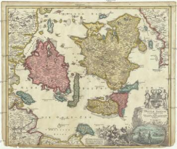Insvlae Danicae in mari Balthico sitae utpote Zeelandia, Fionia, Langelandia, Lalandia, Falstria, Fembria Mona
