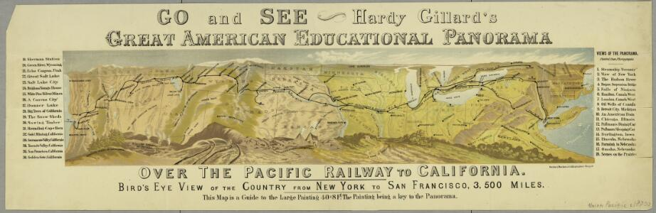 Go and see Hardy Gillard's great American educational panorama, Over the Pacific Railway to California : bird's eye view of the country from New York to San Francisco, 3,500 miles.