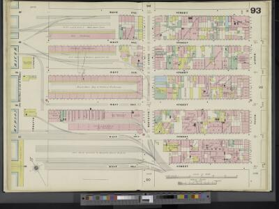 Manhattan, V. 5, Double Page Plate No. 93 [Map bounded by W. 37th St., 10th Ave., W. 32nd St., Hudson River]