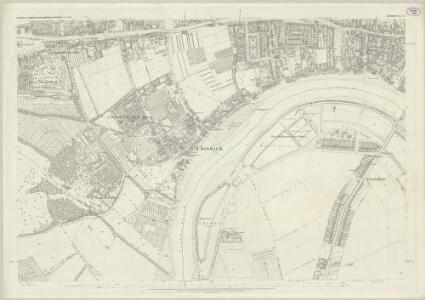 London (First Editions c1850s) LI (includes: Barnes; Chiswick St Nicholas; Hammersmith) - 25 Inch Map