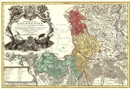 Principatus Silesiae Saganensis in suos Circulos Sagan, Priebus, et Naumburg divisi et