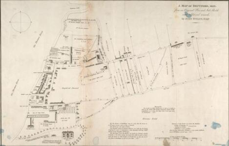 A MAP OF DEPTFORD, 1623. From an Original Pen and Ink Sketch with additional remarks by JOHN EVELYN, ESQ.R