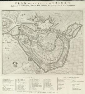 Plan de la Ville d'Erford. Capitale de la Thuringe, avec ses deux Citadelles St. Petersberg & Cyriacusberg