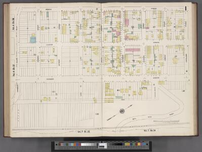 Hudson County, V. 8, Double Page Plate No. 1 [Map bounded by Spring St., Cortland St., Hillside Rd., Paterson Plank Rd.] / surveyed and published by Chas. B. Brush. Vol. 8.