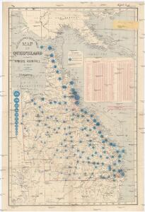 Map of Queensland showing annual rainfall to end of 1906