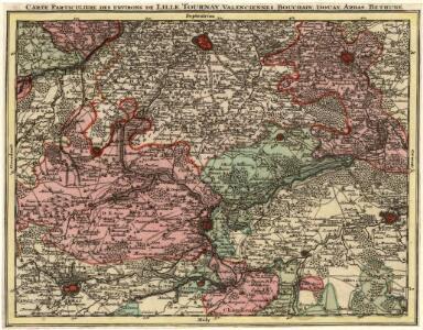 Carte Particuliere des Environs de Lille Tournay, Valencienne, Bouchain, Douay, Arras, Bethune