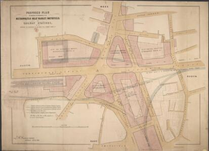 Proposed Plan for improving the Approaches to the Metropolitan Meat Market, Smithfield, and Railway Stations; and for reducing the Acclivities of Holborn Hill, Skinner street, etc