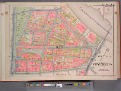 Newark, V. 1, Double Page Plate No. 1 [Map bounded by Centre St., Passaic River, Market St., Broad St.] / by J.M. Lathrop and L.J.G. Ogden ; assisted by E. Robinson and G.M. Monroe.