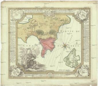 Plan de la place du Corfu avec ses environs, assiegee par les infideles tranchee ouverte le 25me de iuillet jusqu'au 22 d' out. iour, de la fuite des Ottomans, defendüe par S. E. le Feldt Marechal Comte de Schulembourg, general en chef armées de la Ser. Rep[ubli]que de Veniseen l'an 1716