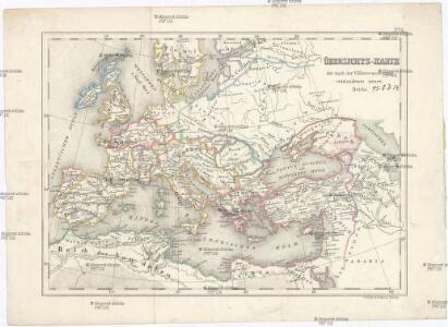 Übersichts-Karte der nach der Völkerwanderung entstandenen neuen Reiche
