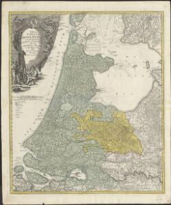 Tabula Comitatus Hollandiæ cum ipsius consinijs Dominii nimirum Ultraiectini nec non Geldriæ et Frisiæ geographice tradita curis