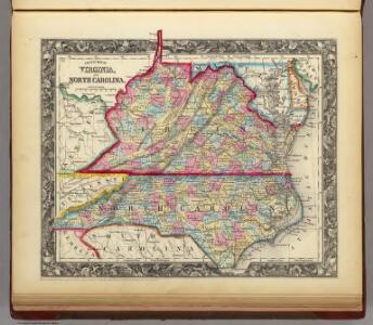 County Map Of Virginia, and North Carolina.