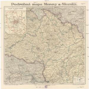 Podrobná mapa Moravy a Slezska
