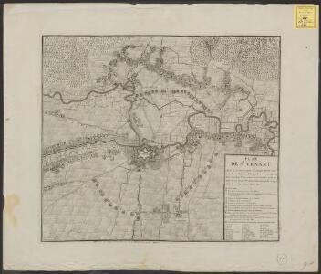Plan de St. Venant, avec la circonvalation et l'ataque, investi par S. A. Monr. le Prince d'Orange le 6. 7bre 1710, par 20 Bat. et 4 Esq.: l'ouverture de la tranchée se fit la nuit du 16. au 17. 7bre et la place demanda à capituler le 29e. du même Mois