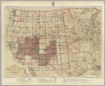 1875. Progress Map Of The Geographical Surveys West Of The 100th Meridian.