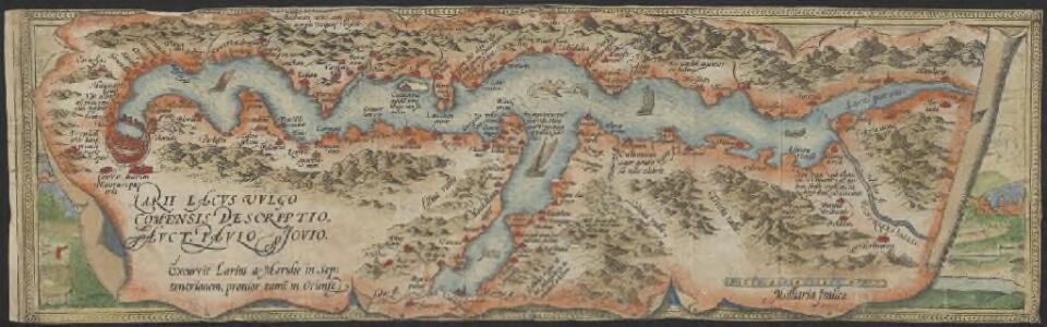 Larii Lacus vulgo Comensis descriptio : excurrit Larius a Meridie in Septentrionem, pronior tamen in Oriente