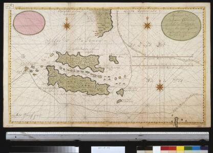 Nieuwe afteekeningh van Salomons Eijlanden of Isles de Salomon geleegen in de Groote Zuijd Zee. N.B. men segt dat de grond oft aertrijk deser eijlanden gout is