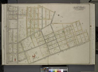 Queens, Vol. 3, Double Page Plate No. 8; Part of Ward Three Flushing. [Map bounded by Madison Ave., Bowne Ave., Parsons Ave., Central  Ave., Wilson Ave., Boerum Ave., Sanford Ave., Franklyn Ave., Cypress Ave.,       Jamaica Ave., Forest Ave., Burling
