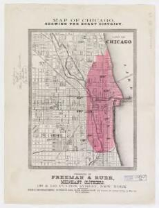 Map of Chicago showing the burnt district