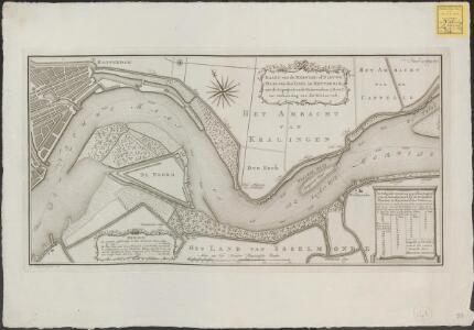 Kaart van de Merwede of Nieuwe Maas, van den Yssel tot Rotterdam, met de geprojecteerde waterwerken A. B. en C, ter verbetering van dit rivier-vak