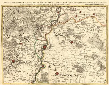 Carte particuliere des environs de Maestricht, partie de Liege faucquemont, et Pays d'Outre-Meuse