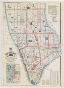 Map of New York City, south of 46th St. : showing new arrangement of docks, piers, and water frontage, also soundings and former high water line