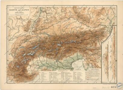 Physikalische Karte der Alpen und ihrer Vorlande