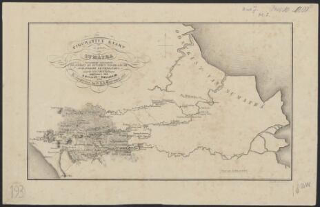 Figurative kaart van een gedeelte van Sumatra voornamelijk aantoonende de wegen en rivieren, welke uit de Padangsche binnenlanden naar de oostkust afloopen