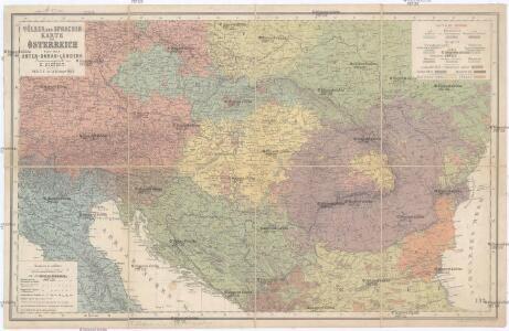Völker und Sprachen Karte von Österreich und den Unter-Donau-Ländern